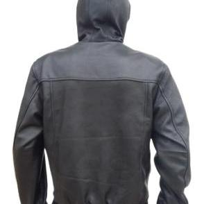 Leather Skin Men Black Hooded Hoodi..