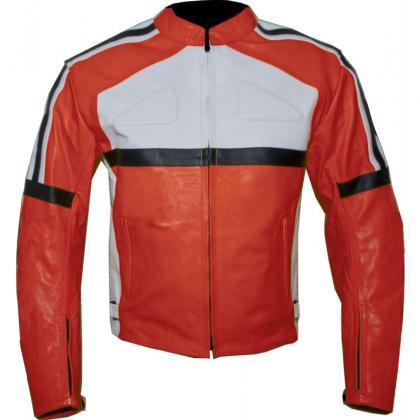 Leather Skin Orange Biker Motorcycl..