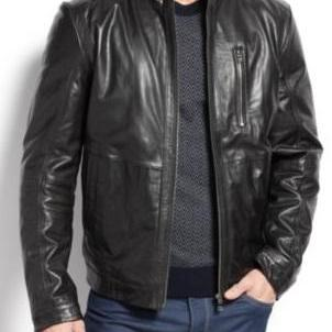 Handmade Men Black Leather Jacket, ..