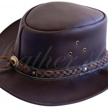 Leather Skin Men Handmade Dark Brow..