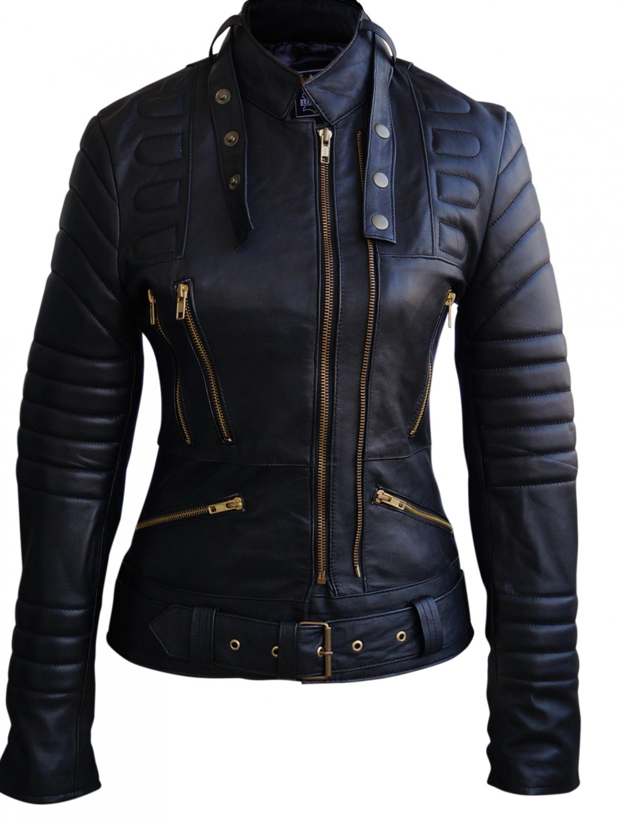 Leather Skin Women Black Brando Padded Leather Jacket