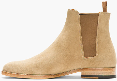 Men Chelsea Beige Slip On Suede Leather Boots Shoes on Luulla