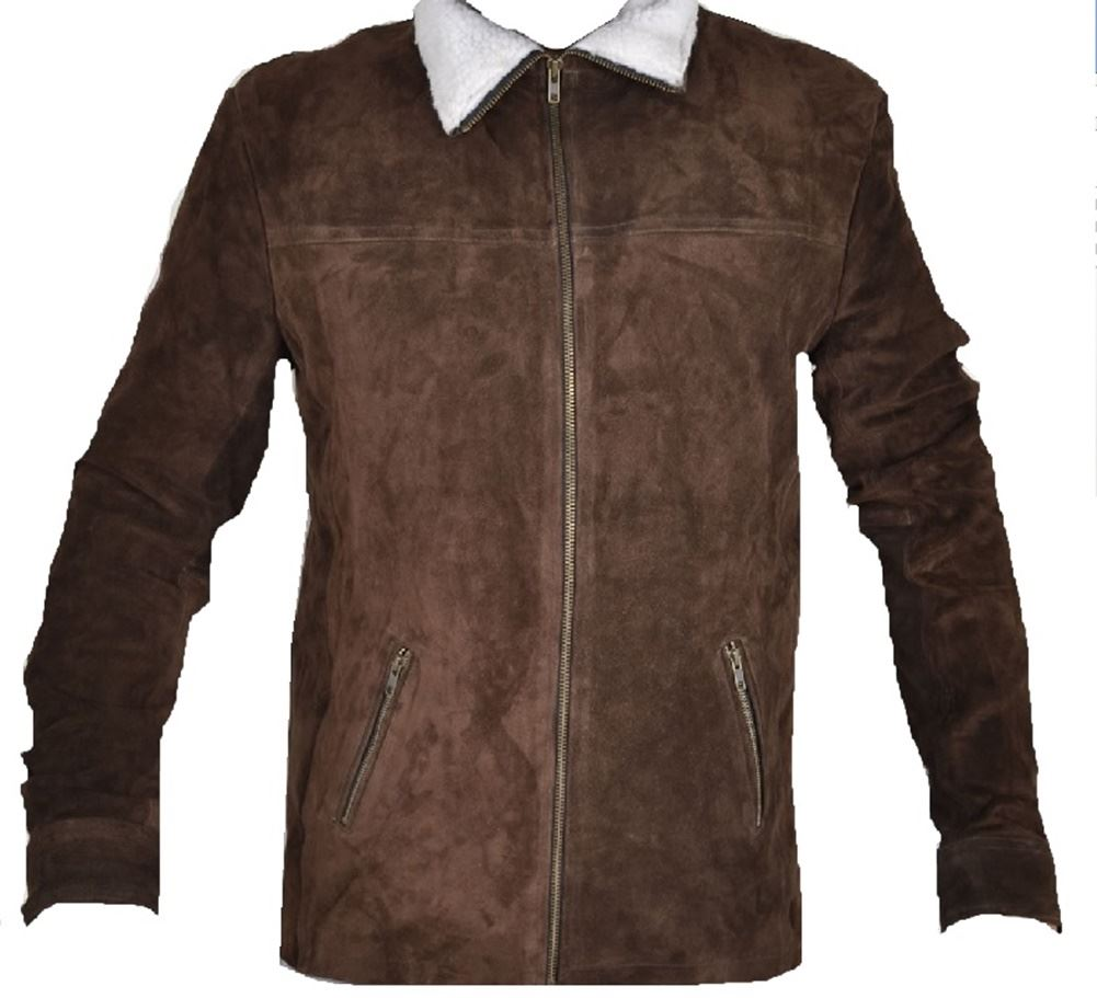 Leather Skin Men Handmade Brown Suede Leather Jacket With White ...