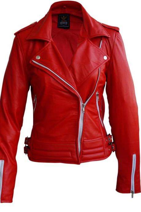Leather Skin Women Red Brando White Zippers Leather Jacket