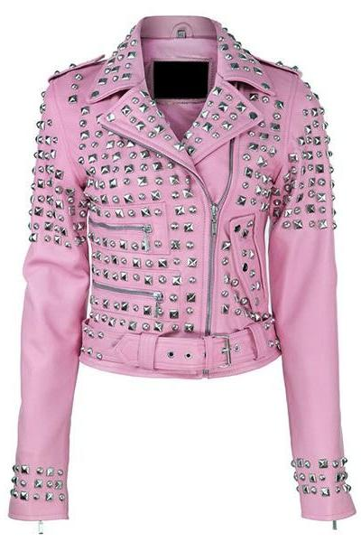 Pink Leather Belted Moto Jacket with Studs and Zipper Embellishments