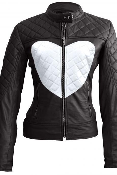 Leather Skin Women Love Black White Heart Quilted Leather Jacket