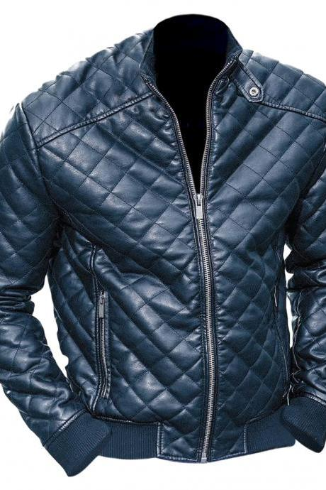 Leather Skin Men Black Diamond Quilted Leather Jacket
