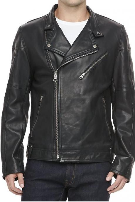 Leather Skin Men Black Brando Biker Motorcycle Leather Jacket