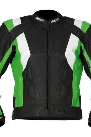 Leather Skin Men Black Green Biker Motorcycle Leather Jacket