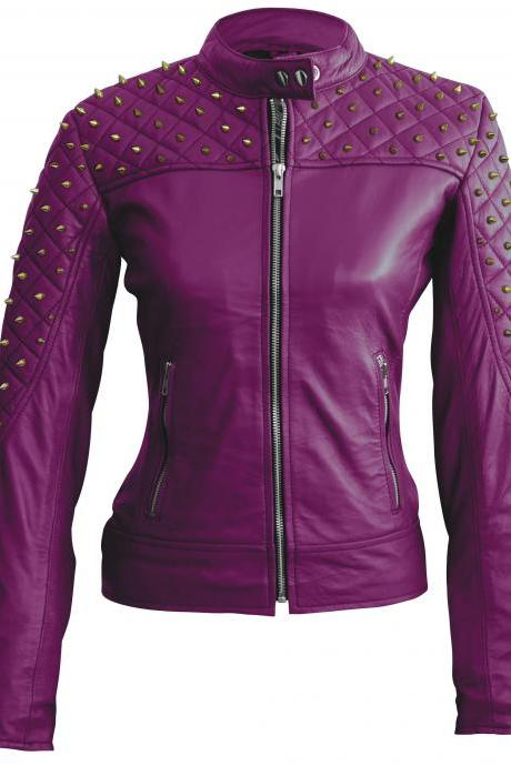 Leather Skin Women Purple Gold Studded Studs Leather Jacket