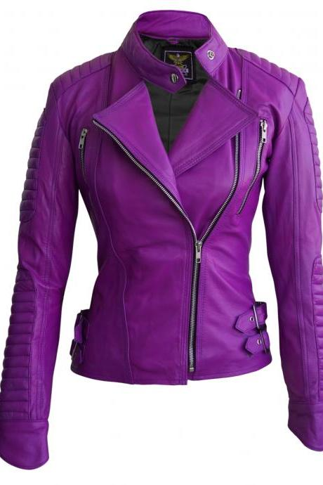 Leather Skin Women Purple Brando Leather Jacket