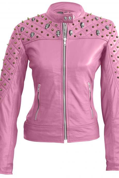 Leather Skin Women Pink Shoulder Quilted Studded Studs Skeleton Leather Jacket