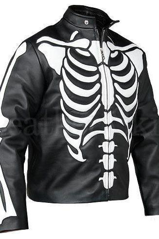 Leather Skin Men Black Skeleton Biker Motorcycle Leather Jacket
