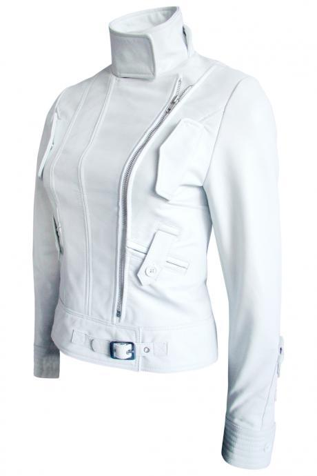 Leather Skin Women White Belted Brando Leather Jacket with Side Pocket