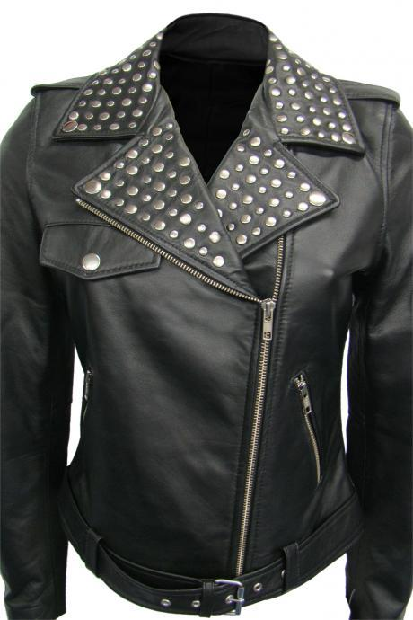 Leather Skin Women Black Studded Studs Brando Leather Jacket