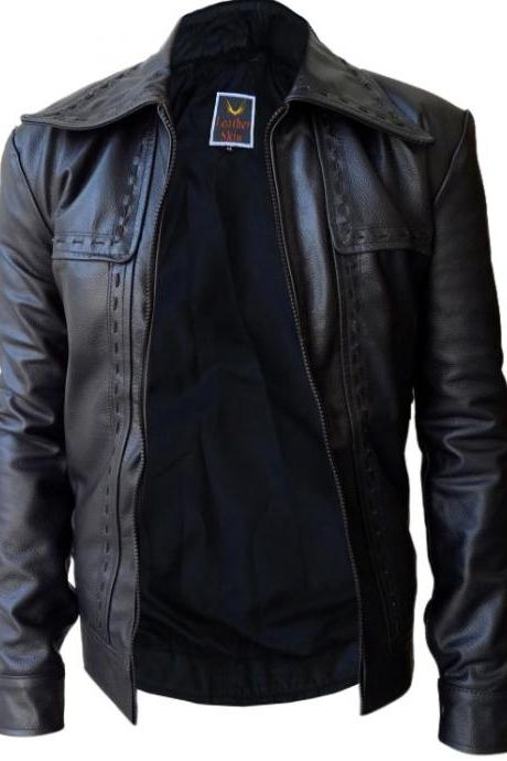 Leather Skin Men Black Dotted Leather Jacket