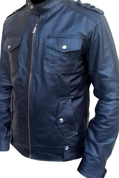 Leather Skin Men Black Leather Jacket with Front and Side Pockets