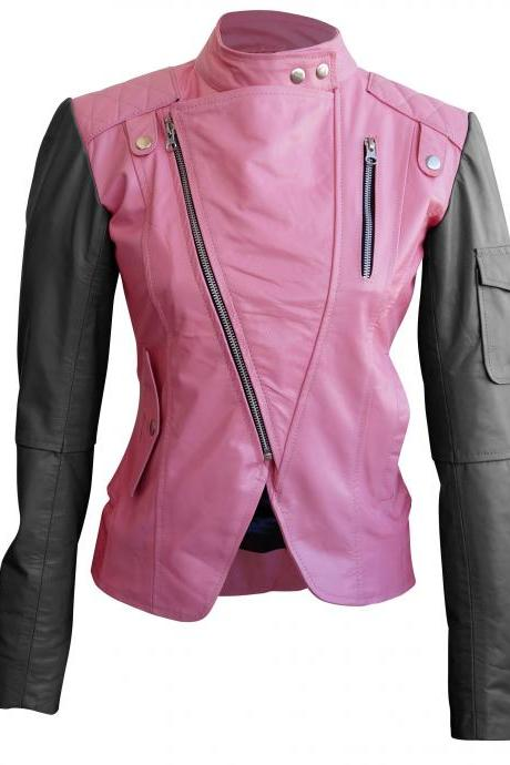 Leather Skin Women Pink Brando Leather Jacket with Black Sleeves
