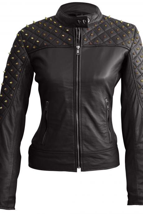 Leather Skin Women Black Spike Studded Gold Studs Shoulder Quilted Leather Jacket