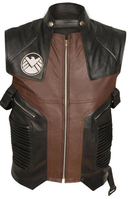 Mens HAWKEYE Avengers Jeremy Renner Barton Motorcycle Leather Vest Jacket