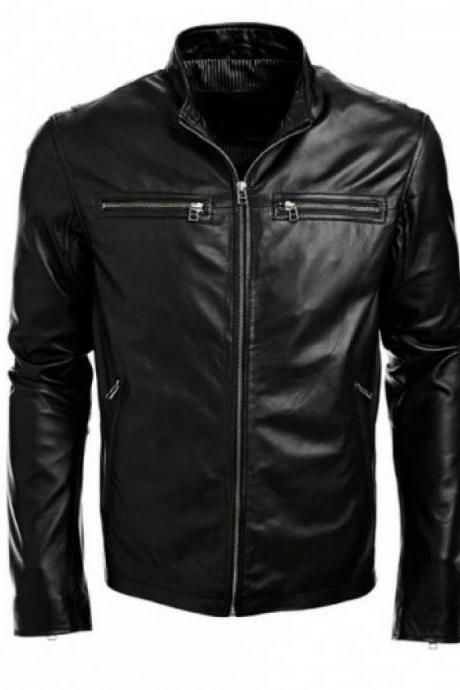 Handmade Men Black Leather Jacket, Men Black Fashion Genuine Leather Jacket, Black Real Leather Jacket