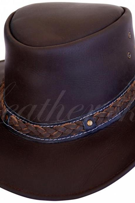 Leather Skin Men Handmade Dark Brown Hat Aussie Bush Cowboy Western Outback Leather Hat