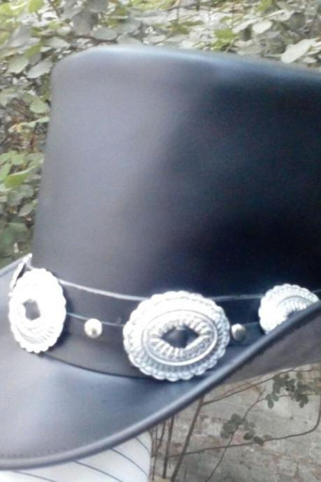 Men Handmade Genuine Black Leather GUNS N ROSES SLASH Style Mens Western Top Hat