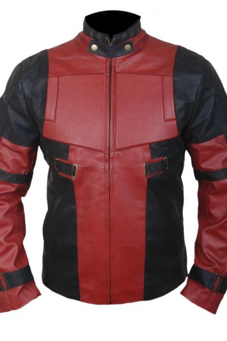 Handmade Deadpool Red Wade Wilson Ryan Reynolds Real Biker Motorcycle Leather Jacket