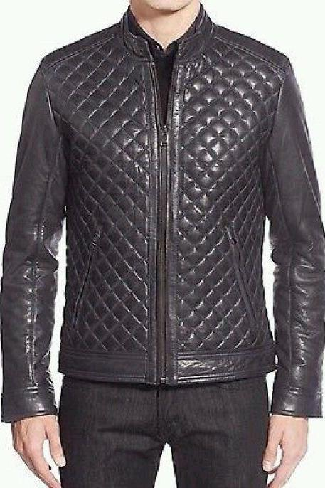 Men Handmade Black Diamond Quilted Genuine Premium Leather Jacket