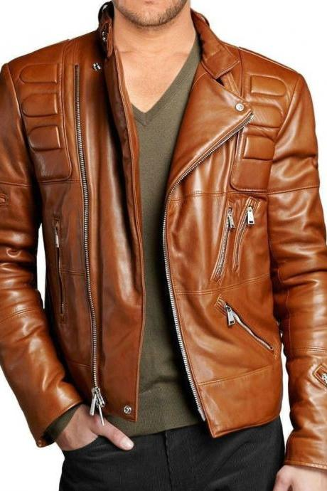 Leather Skin Men Brown Padded Genuine Premium Leather Jacket