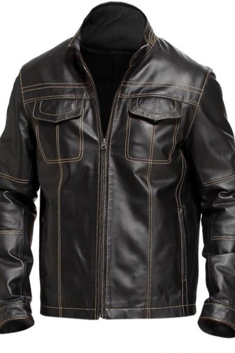 Leather Skin Men Black Biker Motorcycle Genuine Premium Leather Jacket