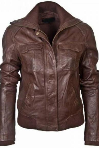 Leather Skin Women Brown Handmade Genuine Leather Jacket