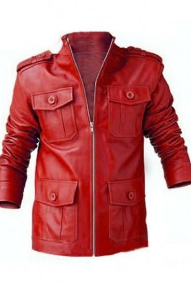 Leather Skin Men Red Maroon Handmade Genuine Leather Jacket with Front Button Snap Pockets