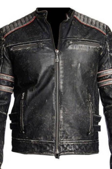 Mens Biker Vintage Motorcycle Distressed Black Retro Biker Motorcycle Leather Jacket