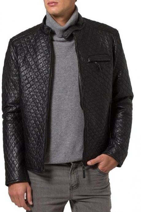 Leather Skin Men Handmade Black Diamond Quilted Genuine Leather Jacket