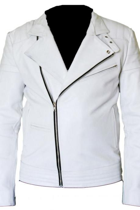 Leather Skin Men Handmade White Brando Genuine Leather Jacket