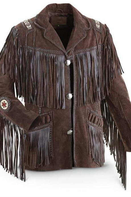 Leather Skin Men Western Brown Suede Cowboy Leather Jacket with leather Fringes