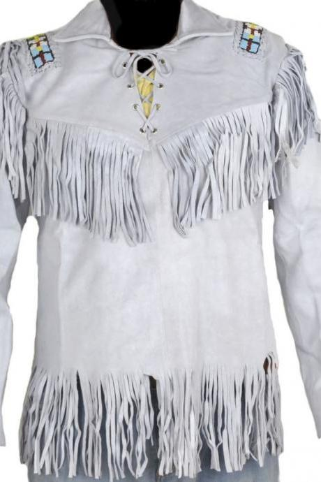Leather Skin Men Western White Suede Cowboy Leather Jacket with leather Fringes