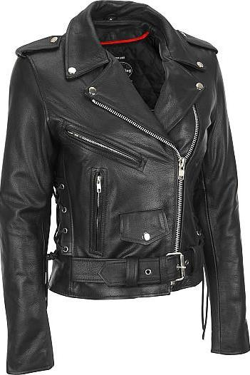 Leather Skin Women Black Handmade Biker Motorcycle Genuine Leather Jacket