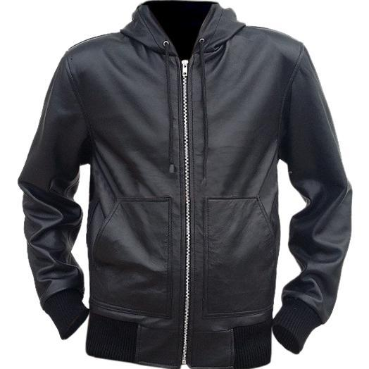 Leather Skin Men Black Hooded Hoodie Leather Jacket