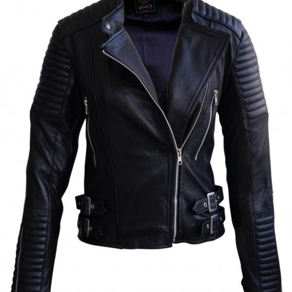 Leather Skin Women Black Brando Shoulder Padded Leather Jacket