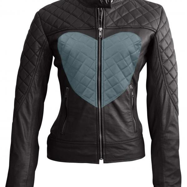Leather Skin Women Love Black with Gray Heart Quilted Leather Jacket