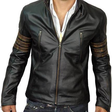X - Men Origins Wolverine Black Leather Jacket with Distressed Brown Sleeve Rings