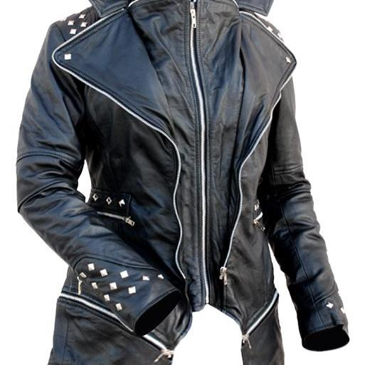 Leather Skin Women Black Spike Studded Studs Leather Jacket with Extra Zippers