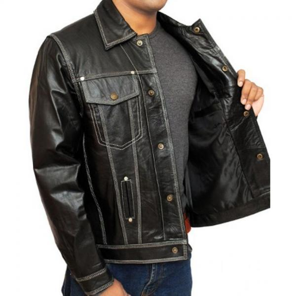 Handmade Men Black Leather Jacket with Flap Closure Chest Pockets and Front Button Closure, Real Leather Jacket, Men Real Leather Jacket