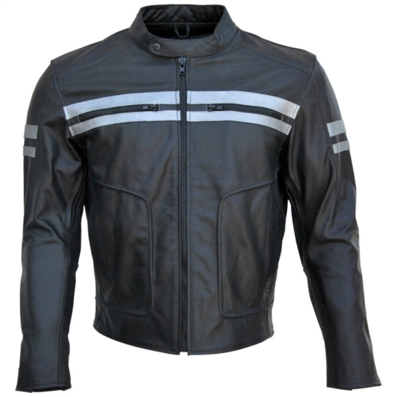 Leather Skin Men Black Handmade Biker Motorcycle Genuine Leather Jacket with Chest White Stripes
