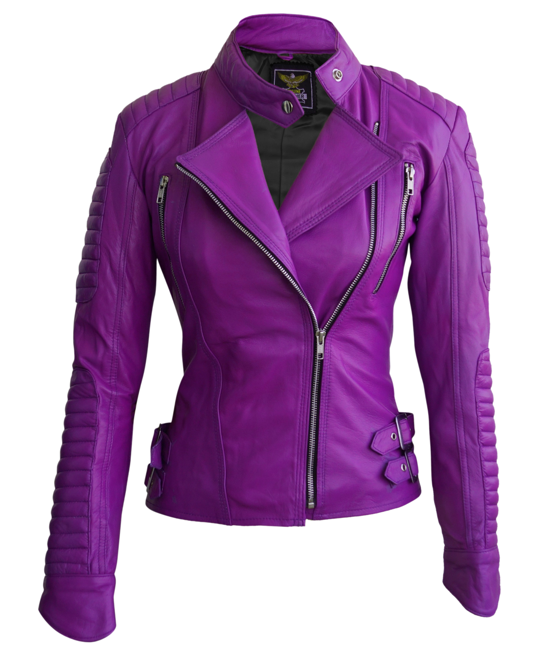 Leather Skin Women Purple Brando Quilted Leather Jacket On Luulla